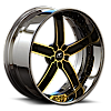 5 LUG DELANO BLACK AND YELLOW WITH CHROME LIP