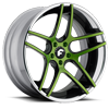 DIECI-ECL Green/Black Center, Chrome Lip 5 lug