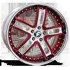 ESTREMO Red/Satin Center, Chrome Lip 5 lug