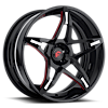 F2.14 Black/White/Red Center, Black Lip 6 lug