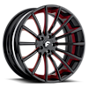 F2.15 Black/Red Center, Black Lip 5 lug