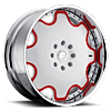 5 LUG FIORE WHITE/RED CENTER, CHROME LIP