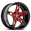 6 LUG F2.10 RED/BLACK CENTER, BLACK LIP