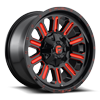 Hardline - D621 18X9 +1 | Gloss Black w/ Candy Red 6 lug