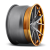 5 LUG IBIZA TEXTURED GUN METAL | BRUSHED ELEVATED SPOKES | TRANS COPPER