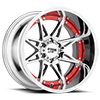 MO993 Hydra Chrome with Red Inserts 6 lug