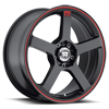5 LUG MR116 MATTE BLACK W/RED STRIPE