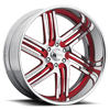 6 LUG MAJESTIC CHROME WITH RED INSERTS