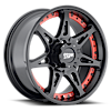 5 LUG MO961 SATIN BLACK WITH RED INSERTS