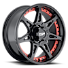 6 LUG MO961 SATIN BLACK WITH RED INSERTS