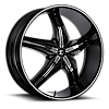No15 Black with chrome v-insert 5 lug