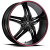 6 LUG NO15 BLACK W/RED STRIPE