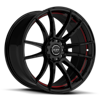 R959 Satin Black w/ Red Undercut 5 lug