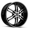 S817 Knight 6 Gloss Black w/ Machined Face and Pin Stripe 6 lug