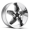 S822 Dystany Chrome with Gloss Black Inserts 4 lug