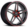 5 LUG SV10-M MATTE BLACK WITH RED WINDOWS AND RED PINSTRIPE