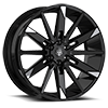 6 LUG 545 GLOSS BLACK WITH MIRROR MACHINED SPOKE TIPS