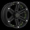 T-01 Flat Black w/ Green Inserts 6 lug