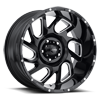 221 Carnage Gloss Black with Milled Accents and Clear Coat - 20x10 5 lug