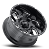 5 LUG 221 CARNAGE GLOSS BLACK WITH MILLED ACCENTS AND CLEAR COAT - 20X10