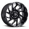 221 Carnage Gloss Black with Milled Accents and Clear Coat - 20x10 6 lug