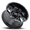6 LUG 221 CARNAGE GLOSS BLACK WITH MILLED ACCENTS AND CLEAR COAT - 20X10
