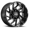 221 Carnage Gloss Black with Milled Accents and Clear Coat - 20x10 8 lug