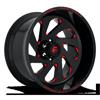 Vortex - D638 Gloss Black w/ Candy Red 6 lug