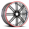 6 LUG VSI BLACK AND CHROME WITH RED PINSTRIPE