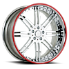 5 LUG VSI CHROME WITH RED PINSTRIPE