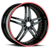 5 LUG VSU BLACK WITH RED PINSTRIPE