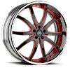 VTD Black and Red with Chrome Lip 6 lug