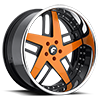 VECCIO Orange/Black Center, Chrome Lip 5 lug