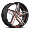 Tesla Concave Satin, Red and Black with Black Lip 5 lug