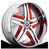 Tesla Satin and Red with Chrome Lip 5 lug