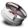 5 LUG TREMENDO BLACK, SATIN AND RED WITH CHROME LIP
