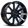 6 LUG SINNER GLOSS BLACK WITH BLUE ACCENT