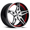5 LUG F2.10 SATIN/BLACK/RED CENTER, SATIN LIP