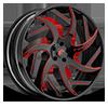 5 LUG GIRARE-ECL BLACK/RED CENTER, BLACK LIP