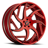 GIRARE-ECL Red/Black Center, Red Lip 5 lug