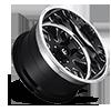 6 LUG FF37 GLOSS BLACK & MILLED W/ POLISHED LIP