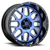 5 LUG XD820 GRENADE SATIN BLACK MACHINED FACE W/ BLUE TINTED CLEAR COAT