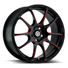 5 LUG ILLUSION GLOSS BLACK WITH RED MILLING