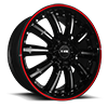 NS9017 Black with Machined Face and Lip and Red Strip 5 lug
