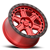5 LUG RENO CANDY RED W/ BLACK LIP EDGE & BLACK BOLTS