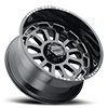 6 LUG 111 XTREME GLOSS BLACK WITH MILLED ACCENTS, MILLED LETTERS AND CLEAR-COAT - 24X12