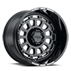 5 LUG 111 XTREME GLOSS BLACK WITH MILLED ACCENTS, MILLED LETTERS AND CLEAR-COAT - 20X12