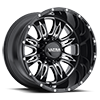 249 Predator II Gloss Black with Milling and Clear Coat - 20x12 8 lug